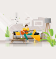 happy young man playing guitar on sofa in living vector image