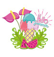 hello summer cartoons vector image vector image