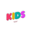 kids font 3d bold doodle style vector image