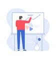 man presentation chart development on white board vector image vector image