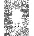 merry christmas pattern with rabbit vector image