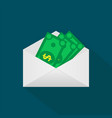 money in the mail envelope cash icon in flat vector image