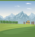 mountain landscape valley poster with forest and vector image