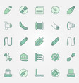 optical fiber colored icons set - fiber vector image
