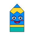 pencil smiling face emoticon icon vector image