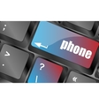phone key in place of enter key - social concept vector image