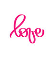 pink love greeting card design stylish word vector image vector image