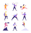 set business people with banner in hand flying vector image vector image