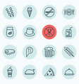 set of 16 eating icons includes soda stick vector image vector image