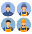 set of avatars of the builders builders circle vector image vector image