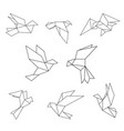 set of black line geometric dove vector image