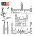 set with malaysia landmarks in outline style vector image vector image