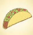 Sketch mexican taco in vintage style vector image vector image