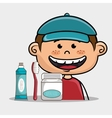 smiling cartoon child with dental care implements vector image