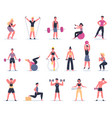 sport people young athletes at gym male vector image vector image