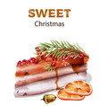 sweet christmas cake with red berries on top vector image vector image