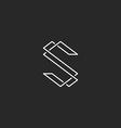 Thin line S letter logo elegant monogram for vector image vector image