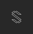 thin line s letter logo elegant monogram vector image