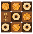Tic-Tac-Toe of donut and pineapple pie vector image vector image