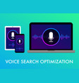 voice search optimization flat banner icons vector image vector image