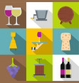 wine shop icons set flat style vector image