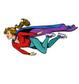 woman superhero flies female power vector image