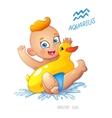 zodiac sign Aquarius Child enjoys swimming water vector image