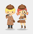 Detective man with pipe and woman with magnifier vector image
