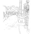 monochrome sketch city town urban vector image