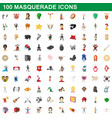 100 masquerade icons set cartoon style