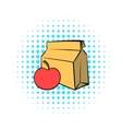 Apple and a paper bag with lunch icon comics style