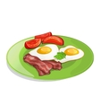 Bacon tomato and fried eggs on the plate vector image vector image