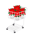 Beautiful Poinsettia Flower in A Shopping Cart vector image vector image