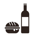 burger and wine bottle vector image