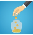 Businessman hand throwing a glass jar gold coin vector image vector image