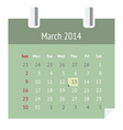 Calendar page for March 2014 vector image vector image