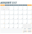 Calendar Planner Template for August 2017 Week