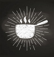 chalk silhoutte of hot pot with sun rays vector image vector image