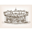 Children carousel sketch style vector image vector image