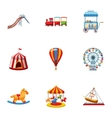 Children rides icons set cartoon style vector image vector image