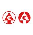 cost price euro increase exchange index icon vector image