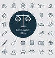 crime justice outline thin flat digital icon vector image vector image
