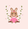 cute bunny sitting on swings vector image vector image