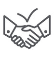 deal line icon agreement and partnership vector image