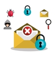 email mail message virus error design vector image vector image