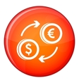Euro dollar euro exchange icon flat style