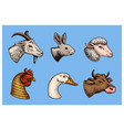 farm animals head of a domestic pig goat cow vector image