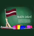 flag of latvia on black chalkboard background vector image