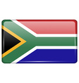 Flags South Africa in the form of a magnet on vector image