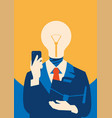Flat businessman with light bulb instead head